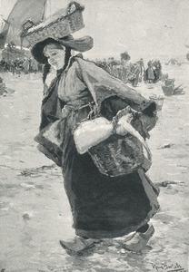 Vrouw bij de visafslag in Katwijk
