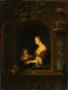 Jonge vrouw met twee kinderen in een venster