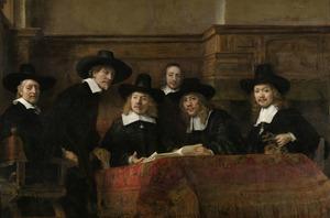 De waardijns van het Amsterdamse lakenbereidersgilde, bekend als 'De staalmeesters'