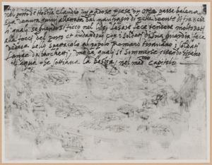 Schetsboekblad met notitie van Stradanus betreffende 'Keizer Claudius bevecht een walvis in de haven van Ostia'
