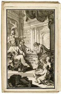 Vijf figuren rond een tafel in een bibliotheek, met Minerva