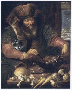 Allegorie op de winter: oude man in bont gehuld worstjes grillend tegen een winters landschap