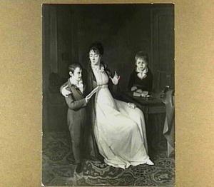 Portret van de schilderes Cornelia Scheffer-Lamme (1769-1839), echtgenote van de schilder Johan Bernard Scheffer (1764-1809), met haar zonen, de latere schilders Arnold (Ary)(1795-1858) en Henry (1798-1862)