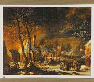 Winterlandschap met plunderende soldaten in een stad; in de voorgrond een naakte vrouw (Maria Magdalena?) met crucifix, gekroond door een putto