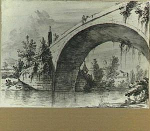 De brug over de Tauber bij het klooster Bronnbach buiten Wertheim