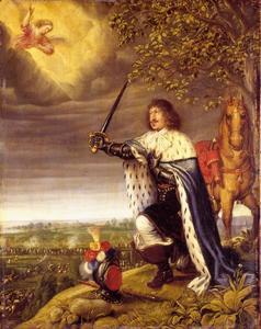 Portret van koning Frederik III van Denemarken (1609-1670) knielend tijdens de slag bij Nyborg