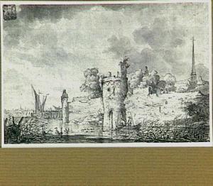 De stadswal van Montfoort, links van het kasteel