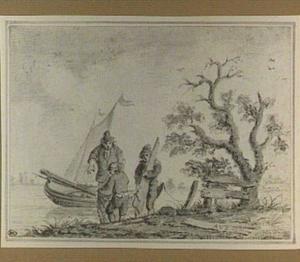 Rivierlandschap met zeilboot en figuren