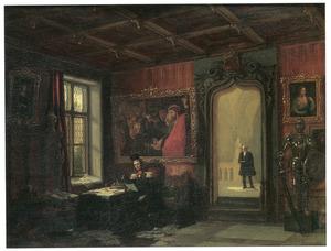 Portret van koning Willem II (1772-1849) in zijn werkkamer met in de achtergrond Victor Amadeo Trossarello (1794-1882)