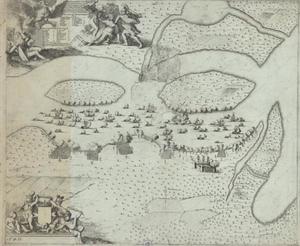 Panorama met slag op de Emajogirivier waar deze uitmondt in het Peipusmeer op 4 mei 1704