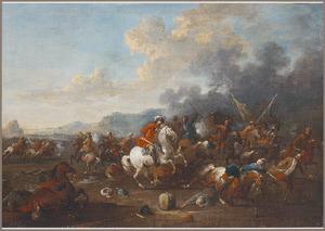Ruitergevecht met oosterlingen in een heuvellandschap