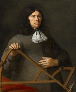 Portret van een man met een Davis Quadrant