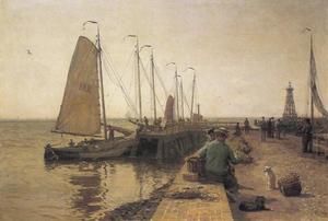Aangemeerde zeilschepen in Enkhuizen