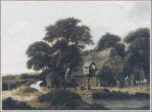 Landschap met een duiventil voor een boerderij