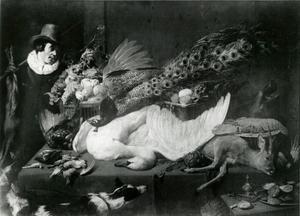 Voorraadkamer met een jager die een dode haas vast houdt en een tafel met jachtbuit