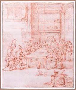 Interieur met boeren en een nar zittend op een gebogen figuur