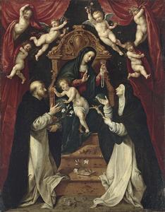 De tronende Maria en het kind delen rozenkransen uit aan de HH. Dominicus en Catharina van Siena