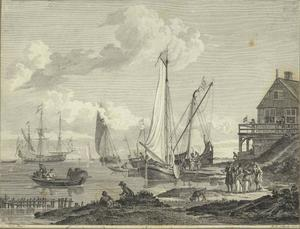 Aangemeerde schepen buiten een Hollandse stad