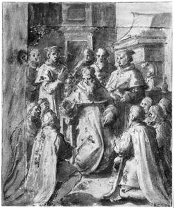 Paus Clemens VII ontvangt een gezandschap van zeven Florentijnse burgers