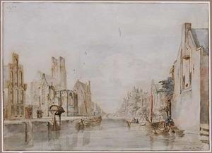 Capriccio van een Hollandse stadsgezicht met gracht