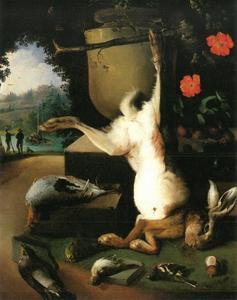 Stilleven met een dode haas en een dode fazant in een park