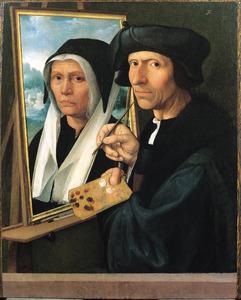 Jacob Cornelisz. van Oostsanen schildert het portret van zijn vrouw Anna