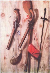 Tromp-l'oeil met pistolen, jachtgeweer, kruithoorn, weitas en degen