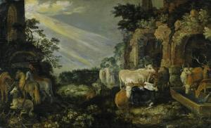 Landschap met paarden, koeien, geiten en herders bij ruïnes