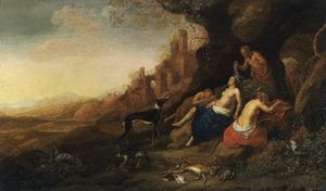 De slapende Diana en haar gezellinnen bespied door saters in een zuidellijk landschap