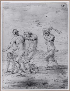 Een duivel slaat drie verdoemden  (Suenos 1641, boek VII, zevende droom)