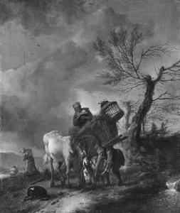 Landschap met boeren en een paard