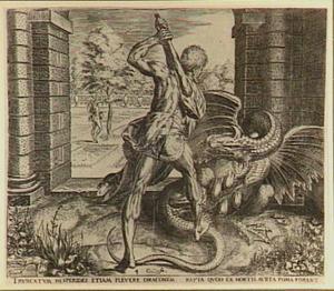 Hercules verslaat Ladon, de draak; op de achtergrond: Hercules plukt de appels van de Hesperiden