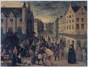 Gezicht op de Vleeschmarkt en het Vleeschhuis te Antwerpen
