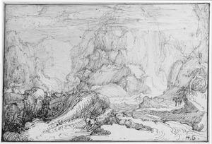 Berglandschap met twee figuren