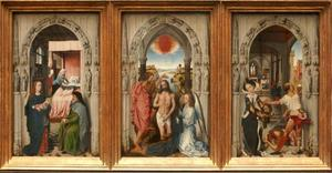 Scenes from the life of St. John the Baptist: the birth of John the Baptist (left), the baptism of Christ (centre), the beheading of John the Baptist (right)