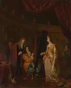 Een schilder in zijn atelier, een dame portretterend