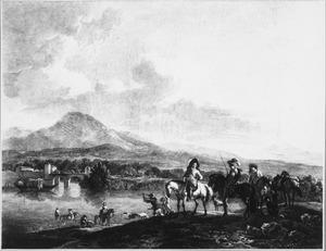 Zuidelijk landschap met jagers, in de verte een brug