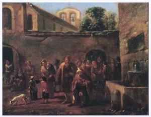 Voedseluitdeling bij een klooster