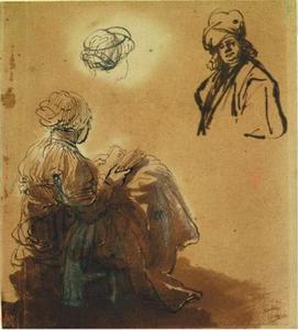 Studies van een lezende vrouw, van achteren gezien, en een oosterling