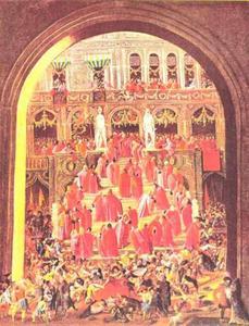 Intocht van de senatoren in het Doge paleis in Veneti
