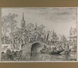 Marktscène bij een stenen boogbrug, links de toren van de Grote Kerk te Den Haag