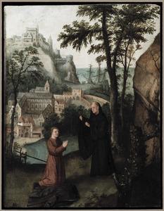 De  H. Benedictus overlaadt Totila, koning der Oostgoten met verwijten, alvorens hem de zegen en de absolutie te verlenen te Monte Cassino