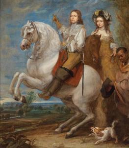 Dubbelportret van een onbekende man en een vrouw te paard, met een bediende