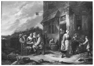 Etend en drinkend volk voor een herberg