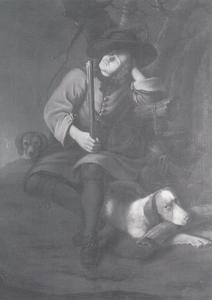 Slapende jager met zijn honden