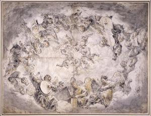Engelenconcert in wolkenhemel
