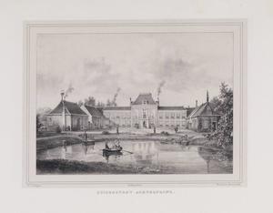Vijver met gezicht op de achterzijde van de hofstede Zuiderburg