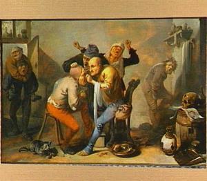 Een dokter en zijn patient met gebarende omstanders