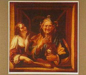 Lachende vrouw met zotskolf naast een nar met een kat in een vensteropening