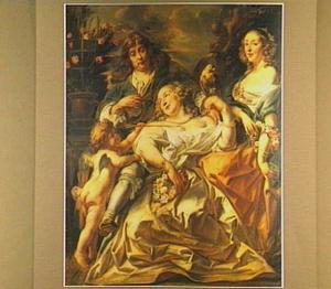 Groepsportret van twee onbekende vrouwen en een onbekende man, met Cupido